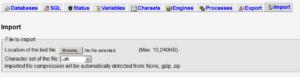 iPage 10MB phpMyAdmin Upload Limit 1